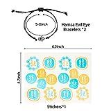 PANTIDE 2Pcs Hamsa Evil Eye Bracelets, Lucky Hamsa