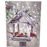 cardinal bird pictures - BANBERRY DESIGNS Cardinal Canvas Print - Lighted Wall Art with Cardinals Berries Rustic Bird Feeder- Snowy Winter Scene Artwork - Light Up Cardinal Pictures