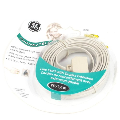 GE 20396 4 Conductor 25-Feet Line Cord Phone Cord Cable Extension Line + Duplex Wall Jack Adapter Splitter RJ11 , (Duplex Jack Ivory 4 Conductor)