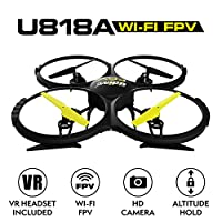 Force1 Drone with Camera Live Video (UDI U818A) Altitude Hold and VR Headset Drone WiFi FPV Quadcopter by Force1
