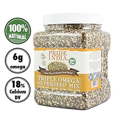 Pride Of India - Triple Omega Superseed Mix -2.75 lbs (1247 gm) Jar - Proteína, fibra, calcio, hierro, omega-3, omega-6, superalimento rico en tiamina ...