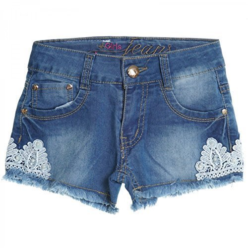 Kinder Mädchen Kurze Hose Bermuda Shorts Sommer Capri Pump Pants Jeans 20408, Farbe:Blau;Größe:140