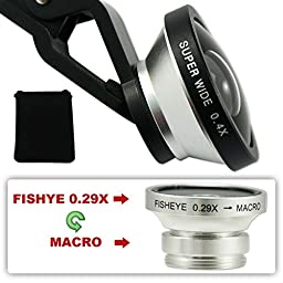 First2savvv JTSJ-CJ3-16 silver Universal Detachable 0.4X Super Wide Angle + 0.29X fish eye + Macro lens professional Mobile phone Lens for LG Optimus 3D P920 OPTIMUS 7 E900 Optimus Chat C550 Optimus Me P350 Optimus One P500 Optimus GT540 GW620 with LENS C