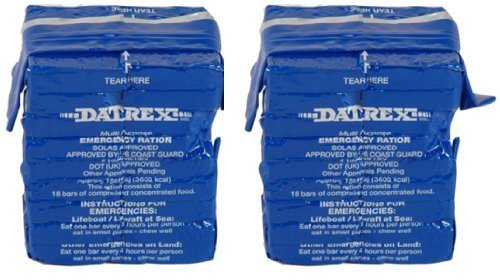 Value Pack of Two 18 Bar packs, Total of 36 bars with 200 Calories per bar, 3600 calories per pack - Datrex 3600 Calorie Emergency Food Bar for Survival Kits, (Sole Survival Kit)