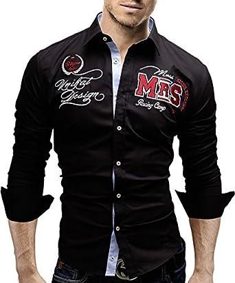 MERISH Camisa Manga Larga Bordado Slim Fit para Hombre Modell 99: Amazon.es: Ropa y accesorios