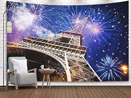 Fullentiart Dormitory Tapestry, Wall Hanging Tapestry 60x50inch Celebrating New Year City Eiffel Tower Paris France Fireworks Decoration Room Birthday Gift Holiday Décor Tapestries -