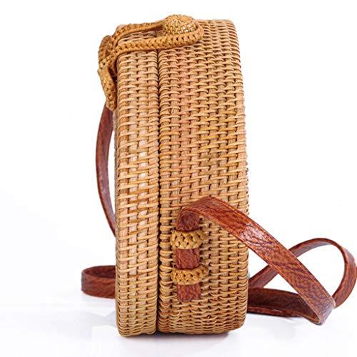 Women's Bag, Rattan Bag - Single Side - Sun Flower - Oval - Crossbody - Beach Bag Floral Lining - Hand-Woven Bag by BHM (Image #2)