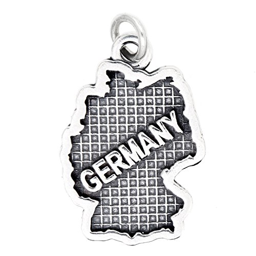 Sterling Silver Oxidized Travel Map of Germany Charm by Lgu