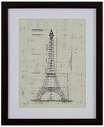 Modern Reprint of Eiffel Tower Sketch, Brown Frame, 13