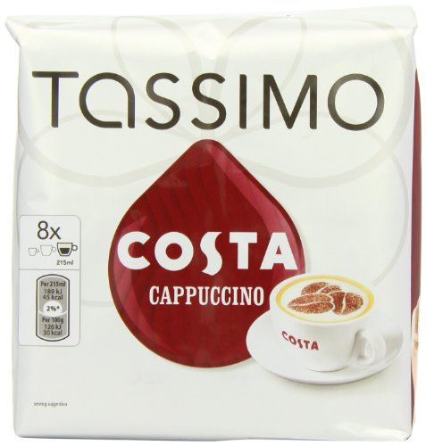 Tassimo Costa Cappuccino 16 T Discs, (Large Cup Size) 8 Servings (16 Tassimo T-discs)