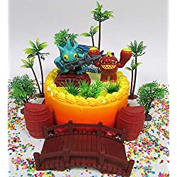 SKYLANDERS Themed Birthday Cake Topper Set Featuring Skylander Figures and Decorative Themed Accessories