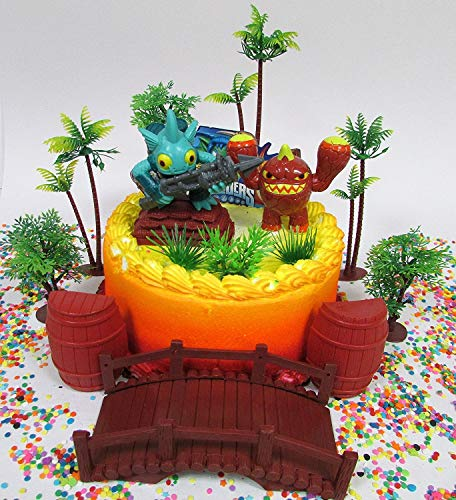 SKYLANDERS Themed Birthday Cake Topper Set Featuring Skylander Figures and Decorative Themed Accessories -