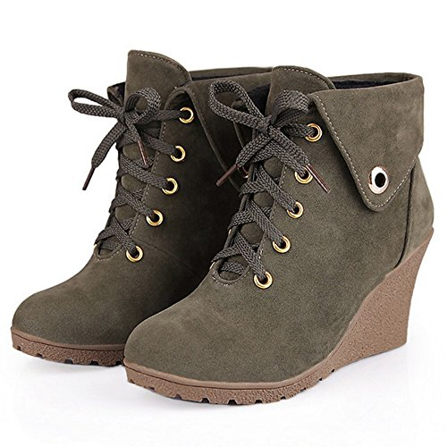 TAOFFEN Women Retro Wedges High Heel Short Boots Lace-up Shoes Army Green k1rmtIjmS