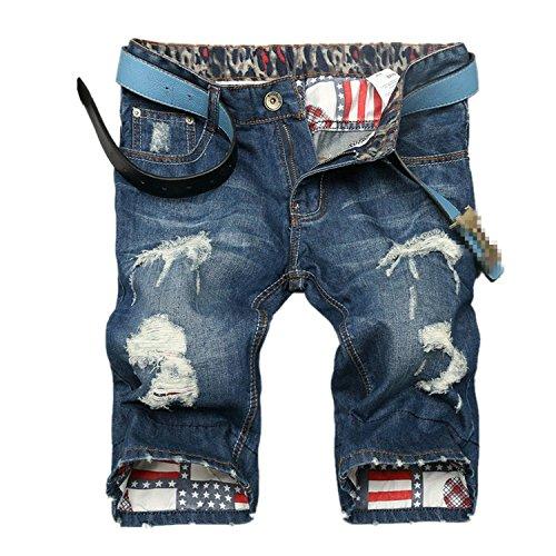 E.YUE Herren Denim Jeans Kurze Shorts Sommer 5-Pocket Stil#13146