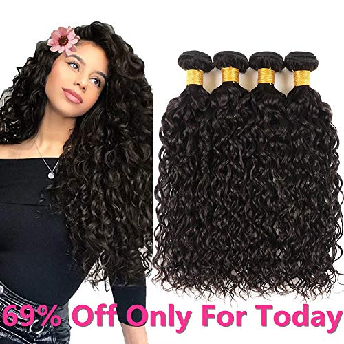 Brazilian Water Wave Virgin Hair 4 Bundles 100% Unprocessed Human Hair Extensions Curly Wave Bundles Wet and Wavy Human Hair Water Wave Bundles Big Sale Brazilian Virgin Hair Human Hair Weave Bundles (Best Hair Dye To Use On Weave)
