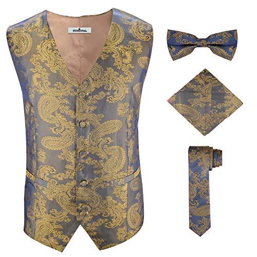 Gold Suit Halloween (Men's Floral Party Dress Suit Stylish Dinner Gold Brocade Tuxedo)