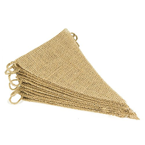YEJI Burlap Banner with DIY Triangular Pennant Flags for Holidays, Camping, Social Activity and Party Decoration (26PCS) by YEJI