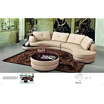 Excellent Amazon Com My Aashis Modern Beige Leather Sectional Sofa Caraccident5 Cool Chair Designs And Ideas Caraccident5Info