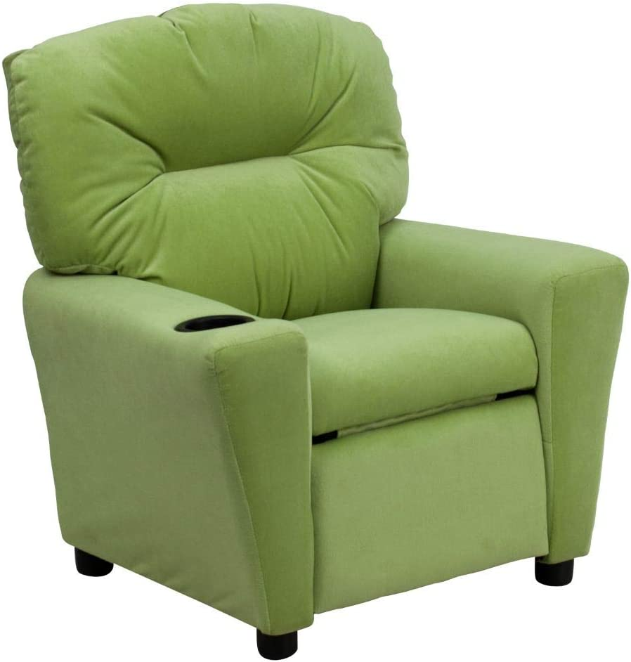 Contemporary Microfiber Kids Recliner with Cup Holder.