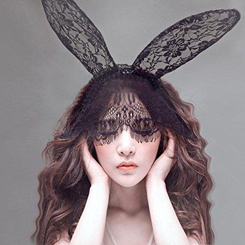 Chinatera Fashion Girl's Cute Cat Fox Ears Headband Party Costume Anime Cosplay (Black Bunny)