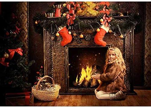 Allenjoy 7x5ft Christmas Backdrop Winter Indoor Stove Christmas