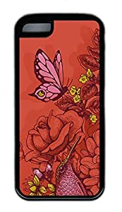 iPhone 5c Cases - Cheap And Beautiful Summer TPU Black Cases Personalized Design Red Flower Butterfly by supermalls