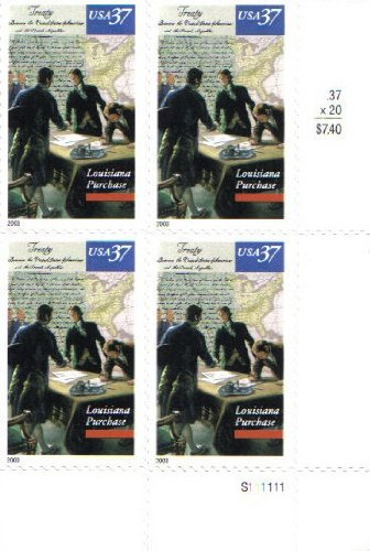 LOUISIANA PURCHASE ~ BICENTENNIAL #3782 Plate Block of 4 x 37 cents US Postage Stamps