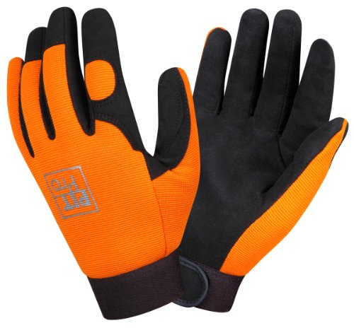 Synthetic Leather Palm Gloves (Cordova 77071 Pit Pro Synthetic Leather Palm Activity Glove, Orange, Large)
