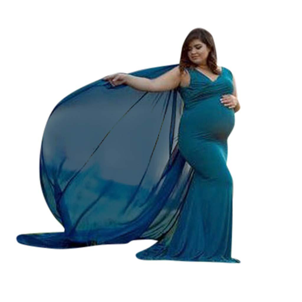SO-buts Mujeres Embarazadas Atrezzo De Fotograf/ía Sin Mangas Trapear Maternidad Vestido De Color Liso Vestido De Gasa Fluido