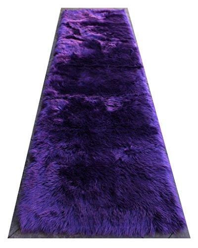 Masada Rugs, Faux Sheep Fur Shag Area Rug 32 Inch X 10 Feet -
