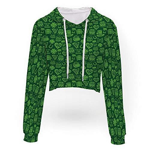 (Women's Pineapple Embroidered Hoodie,Irish,Sweatshirt Crop Top Hoodies)