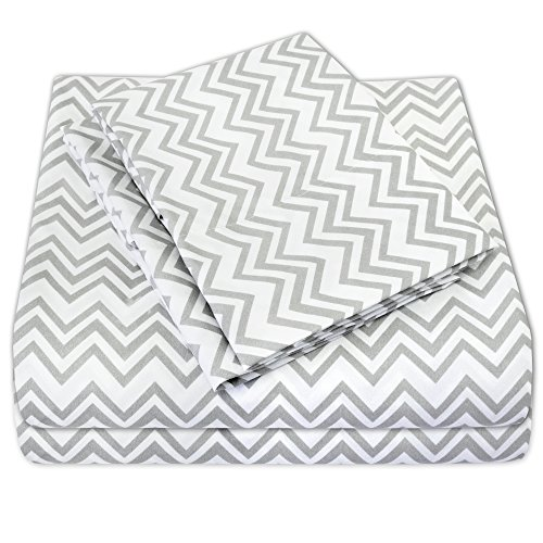 Sweet Home Collection 4 Piece 1800 Thread Count Egyptian Quality Deep Pocket Bed Sheet Set, Queen, Chevron Gray (Bed Set Chevron Grey)