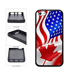 Canada and USA Mixed Flag TPU RUBBER SILICONE Phone Case Back Cover Apple iPhone 5c