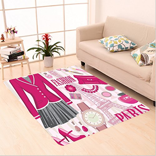 8' Wool Purse (Nalahome Custom carpet shion Theme in Paris with Outfits Dress Watch Purse Perfume Parisienne Landmark Decor Pink Biege area rugs for Living Dining Room Bedroom Hallway Office Carpet (5' X 8'))