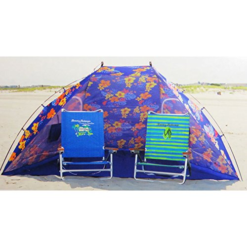 Tommy Bahama 9ft Wide Portable Sun Shelter/Tent/Beach Umbrella with Zippered Windows & Carrying Case & 2 Biker 100% Cotton Skull Cap Head Wrap Assorted Color by Tommy Bahama