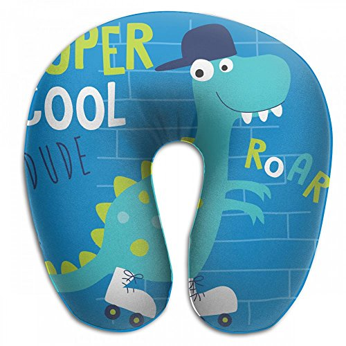 Raglan Carnegie Cool Roller Skater Dinosaur Dino Animal Neck Head Support Travel Rest U Shaped Pillow for Airplane Train Car Bus Office by Raglan Carnegie
