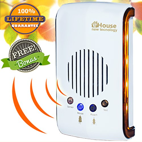 Pest Control Ultrasonic Pest Repeller Electronic Plug in Best Repellent Get Rid Of - Rodents Squirrels Mice Rats Insects - Roaches, Spiders, Fleas, Bed Bugs, Flies, Ants, Mosquito, Fruit Fly, Bee, Bat (Electronic Rodent In Plug Repeller)