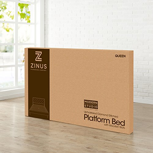 Zinus Shalini Upholstered Diamond Stitched Platform Bed