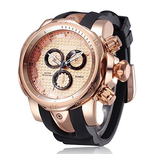 JIANGYUYAN Mens Unique Analog Quartz Casual Business Sport Wrist Watch (Rose Gold) - Rose Gold Mens Watch