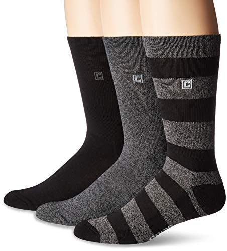 Chaps Men's Marled Rugby Crew Socks 3 Pair, black, charcoal, Shoe Size: 6-12