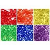 Primary Transparent Colors 6 x 9mm Plastic Craft Pony Beads, 6 Bags Variety Pack, 6 Colors (about 3000 beads), Beads Kit Gift Set
