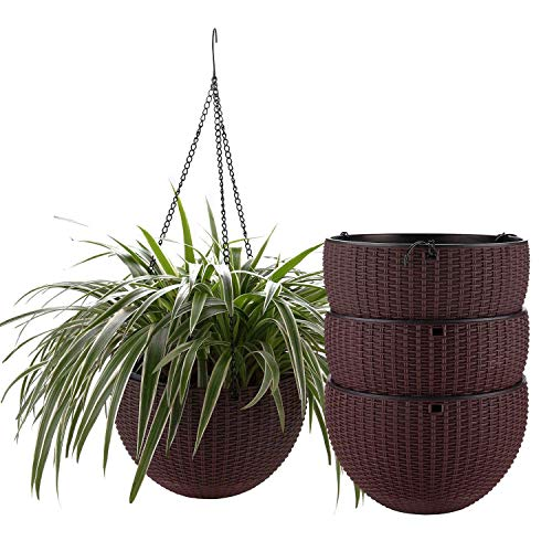 T4U Plastic Hanging Planter Coffee Brown Pack of 4, Self Watering Basket Round Flower Plant Orchid Herb Holder Container for Home Office Garden Porch Balcony Wall Indoor Outdoor Decoration Gift (Watering Self Wicker Planter)