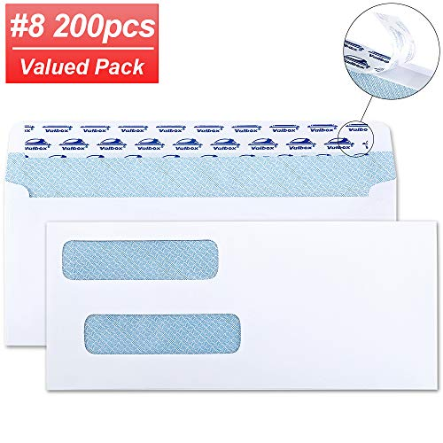 """ValBox 200 Count #8 Double Window Envelopes 3 5/8"""" x 8 11/16"""" Flip and Seal Double Window Security Check Envelopes- Security Tint Pattern Designed for Home Office Secure Mailing, Letters, Invoices"""