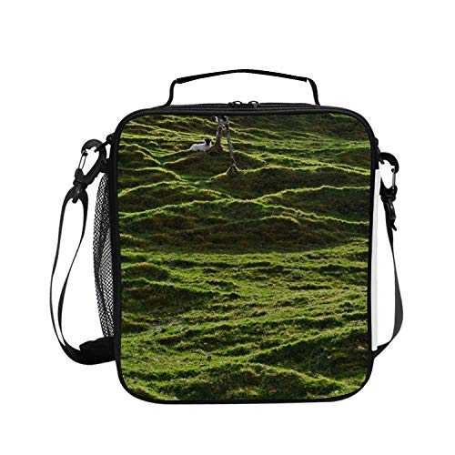 - Little Sheep In The Moss Lunch Bag Tote Handbag Lunchbox for School Work Outdoor
