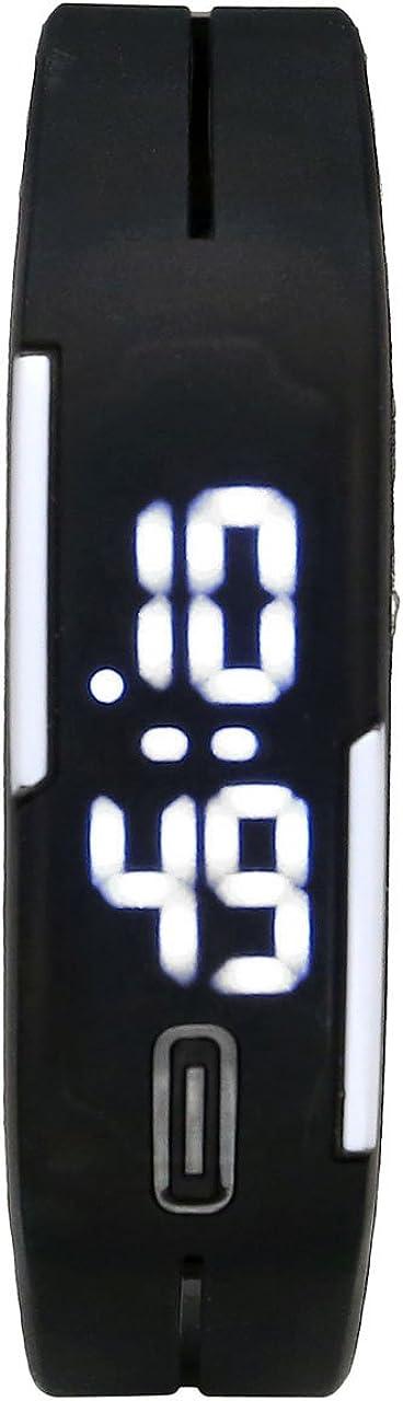 JSDDE - Reloj de pulsera digital deportivo led de cuarzo para hombre y mujer, pantalla táctil, silicona, color blanco y negro