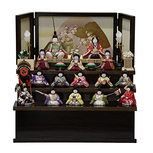 雛人形 収納飾り木目込み十五人揃 虹彩229 幅49cm 3mk44 柿沼東光   B075GKNFM8