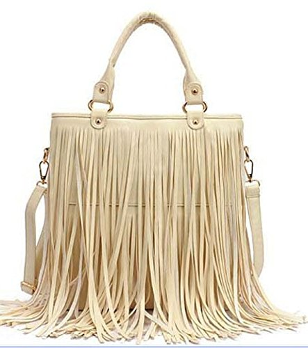 PU Large Shoulder Waterproof Fringe White Bag Womens Tassel Leather BCwqpqS