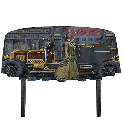 kangkaishi Victorian Waterproof Anti-Wrinkle no Pollution Lady Wearing Old Style Dress and Vintage Car in Street Mechanic Industrial Era Print Outdoor Picnic D43.3 Inch Multi