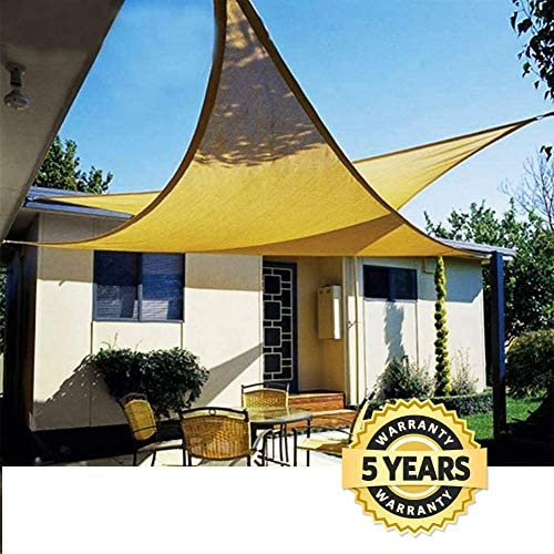 Quictent 18 x 18 x 18 FT Sand, 185G HDPE Sun Shade Sail Canopy Awning Triangle 98 UV-Blocked for Patio Outdoor Swimming Pools