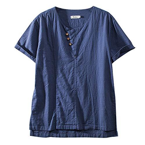 - Summer Fashion Men's Cotton Shirt,Sharemen Linen Solid Color Short Sleeve Retro T Shirts Tops Blouse(Navy,2XL)